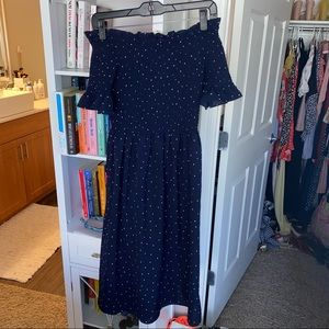 Smocked off the shoulder polka dot midi dress